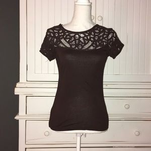 Anthropologie chocolate brown lace fitted top